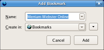 screenshot of Add Bookmark dialog for bookmark with microsummary
