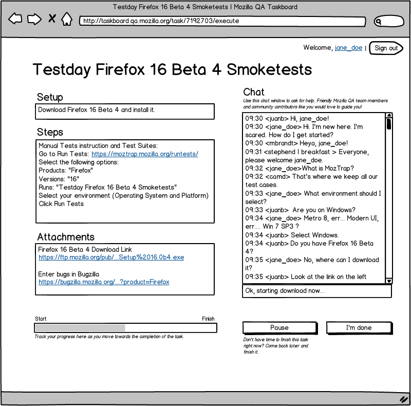 Mockup of the Task Execution Page