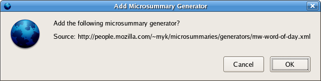 screenshot of Add Microsummary Generator confirmation dialog