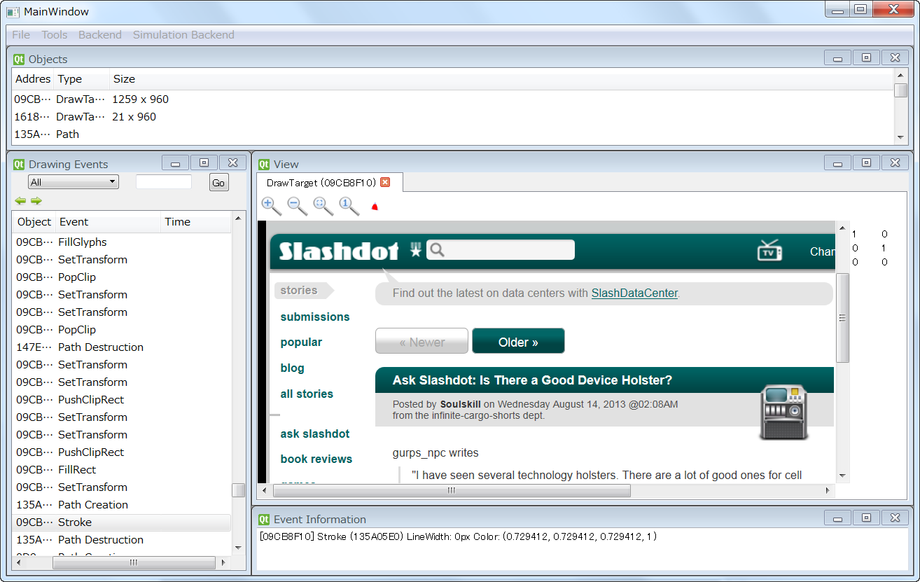 Screenshot of Player 2D playing back a recording of slashdot.org.