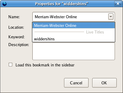 screenshot of Bookmark Properties dialog while removing microsummary