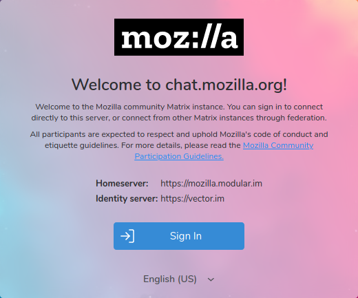 Welcome screen on chat.mozilla.org
