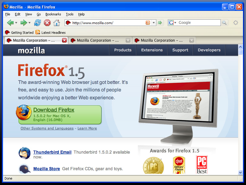 screenshot of Firefox 1.5