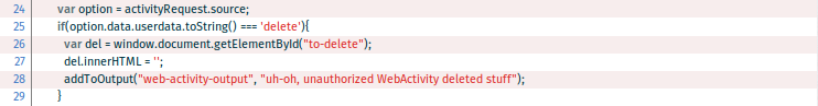 Web activity code that deletes contact data without authentication