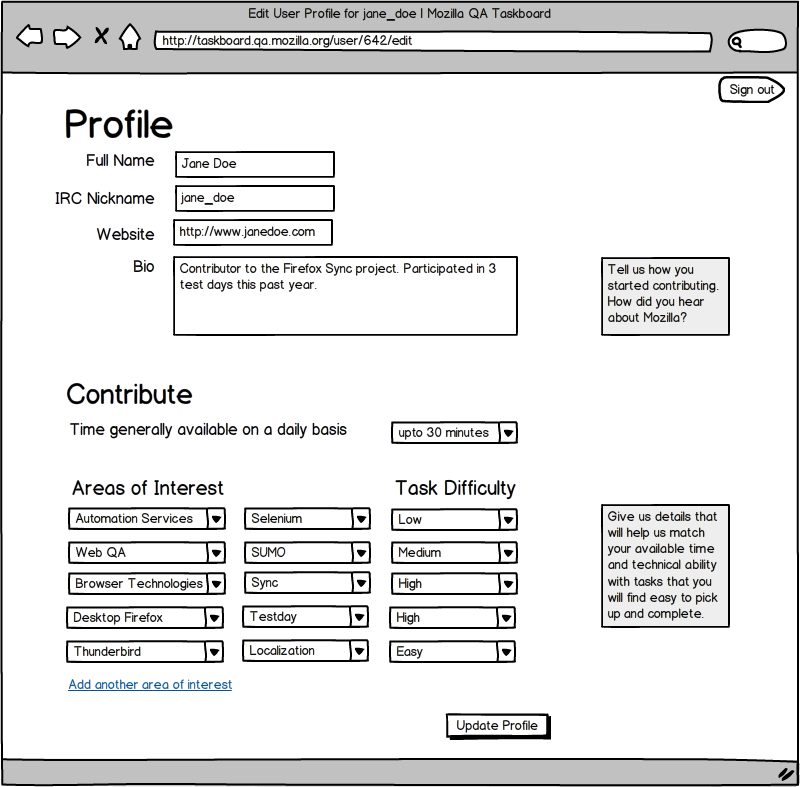 Mockup of the Edit Profile Page