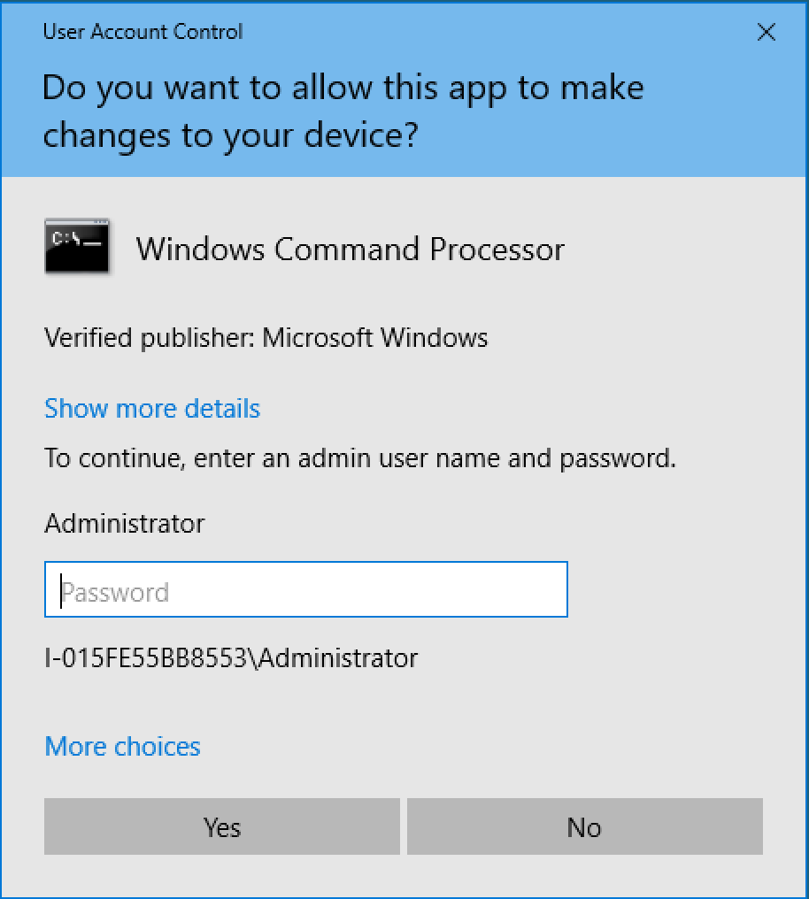 Screenshot of dialogue box asking for Administrative credentials