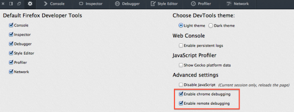 "Settings for developer tools - ""Enable Chrome Debugging"" and ""Enable Remote Debugging"""