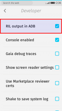 Developer > RIL output in ADB