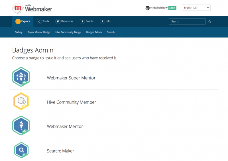 Admin for Webmaker badges