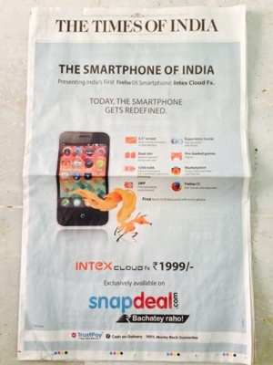 The Smartphone of India, Front page of the India Times on ...