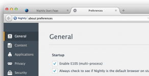 Nightly > Preferences > General > Enable E10s