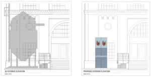 Comparison showing the space before and after the monument being installed
